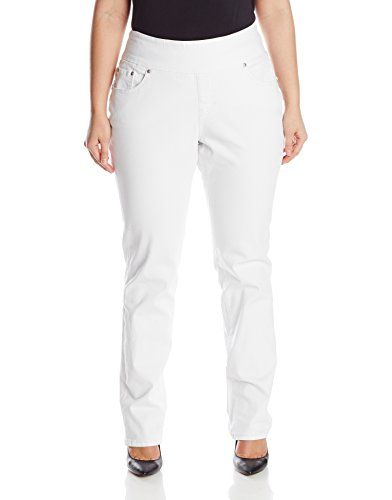 53bbdb11a25 Jag Jeans Womens PlusSize Peri Pull On Straight Leg Jean with 5 Pockets  White 22 -- Click on the image for additional details. (This is an  affiliate link)   ...