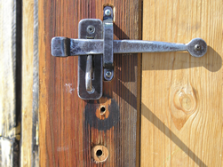 inside view of hand forged thumb latch for door