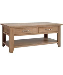 Harvey Oak Assembled Coffee Table With Drawer.