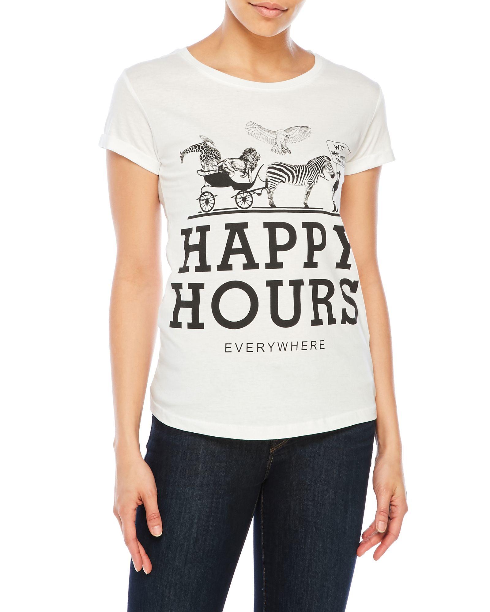 Happiness Happy Hour Graphic Print Tee