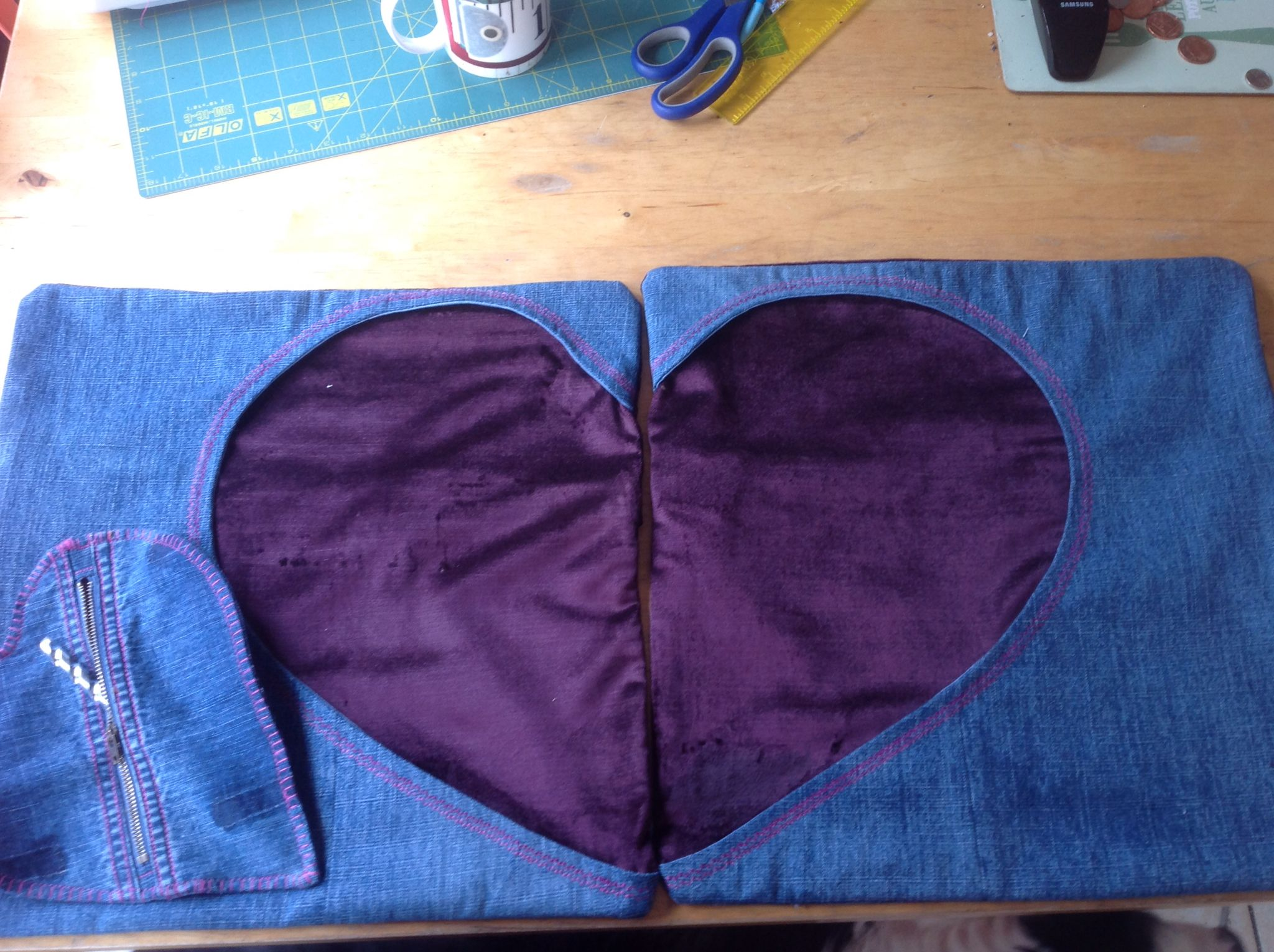 Heart reverse appliquéd cushion covers for Christopher's Valentines present 2015 Upcycled denim and new velvet  Together with a heart shaped zippered pouch for tools, little things or whatever