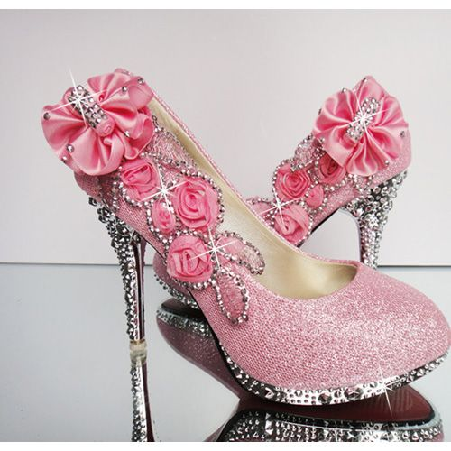 4d7151b3de4 Ulass Pink Floral And Bling Design High Heels Fashion Shoes in 2019 ...