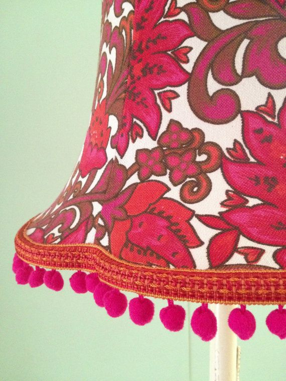 1960s style lampshade with pom pom trim shabby chic look | Light ...