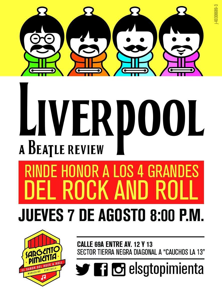 LIVERPOOL en VIVO ! Jueves 7 Agosto @elsgtopimienta Ver Beatles, Oír Beatles & Comer Beatles  Los esperamos! pic.twitter.com/c861zxP0va