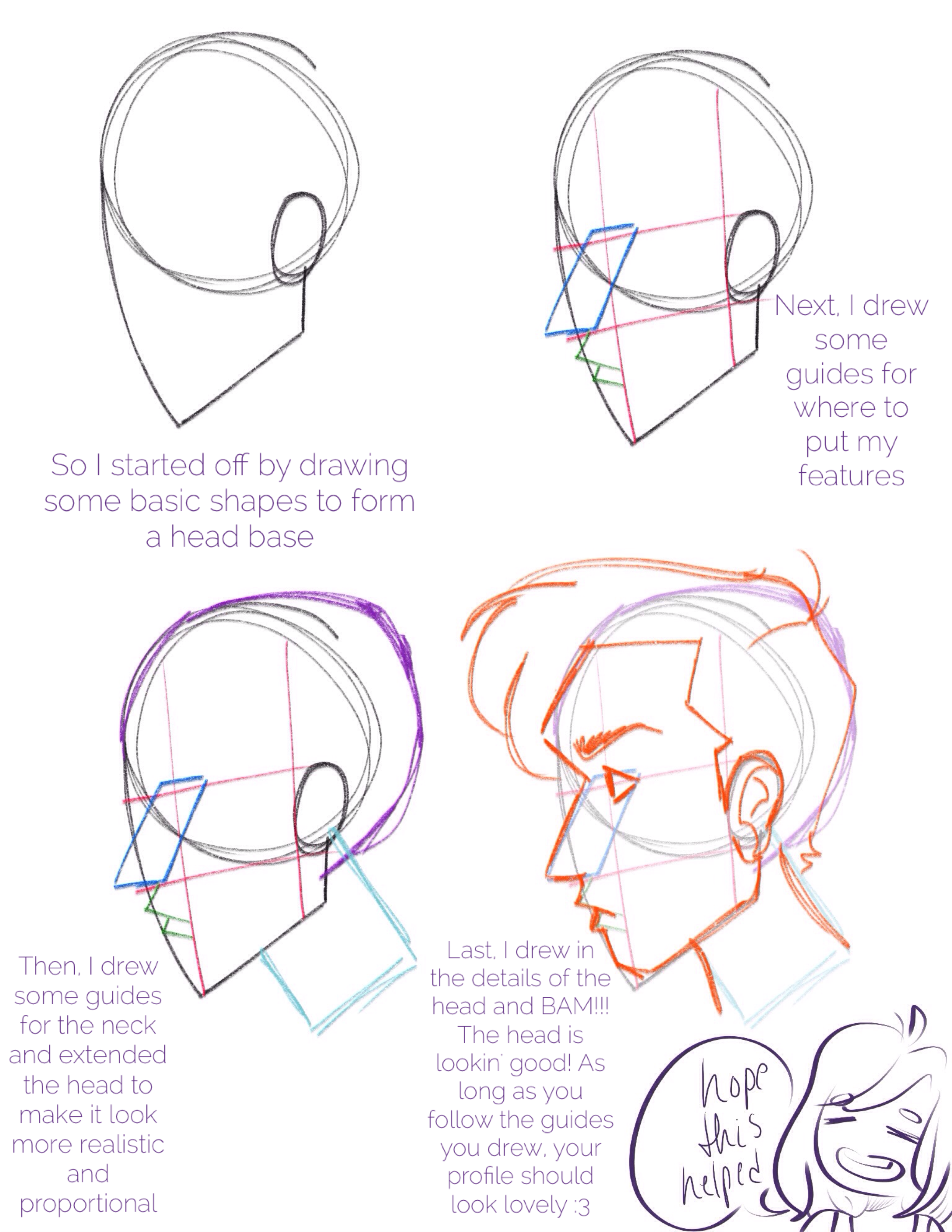 Finally Learned How To Draw A Good Looking Profile View D So I Made This Lovely Tutorial To He Sketches Tutorial Art Reference Poses Different Drawing Styles