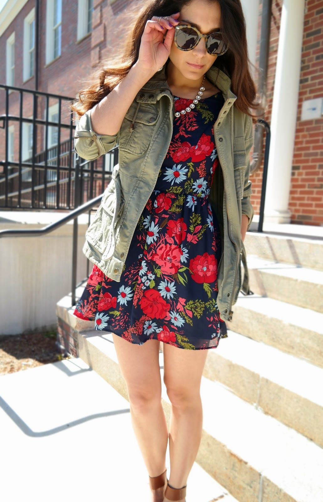 Military Jacket and floral dress