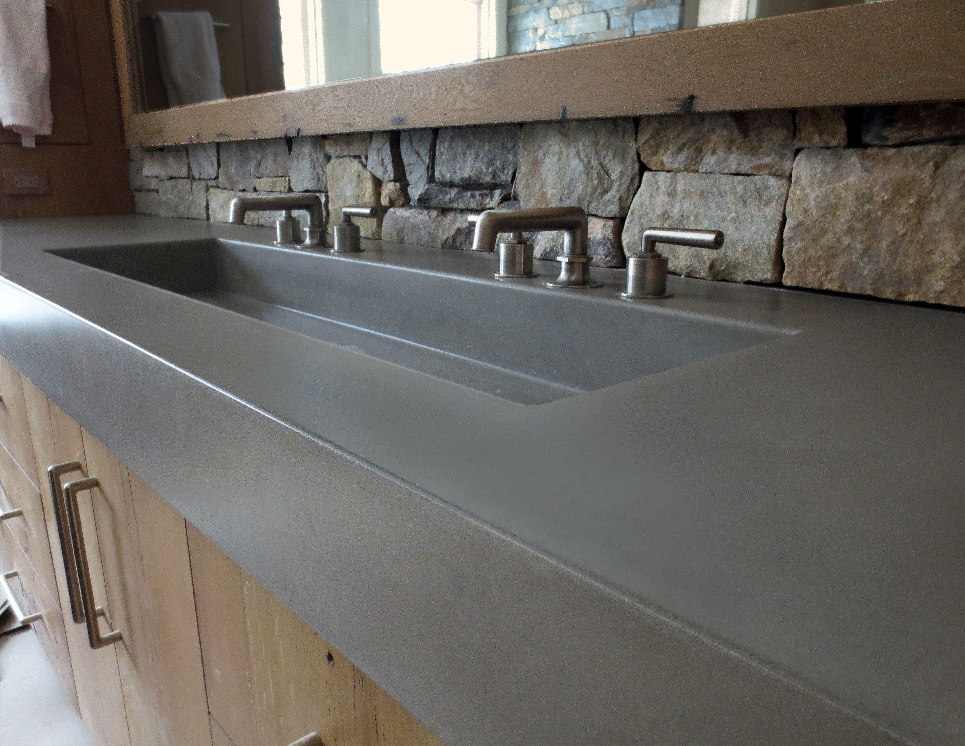 48 Rectangle Concrete Sink By Trueform Concrete Custom Concrete Vanity Top Concrete Bathroom Concrete Sink Bathrooms Remodel