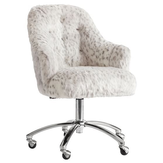 Gray Leopard Faux Fur Tufted Desk Chair Tufted Desk Chair Brown
