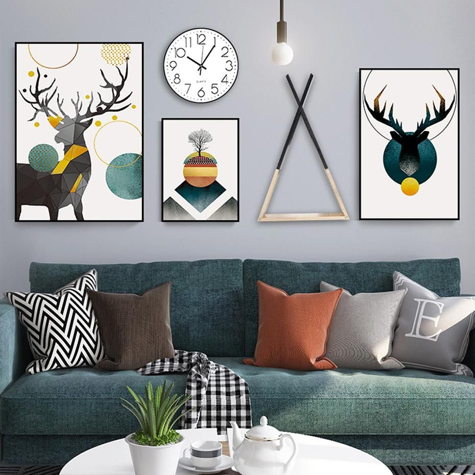 Nordic reindeer abstract geometric fine art canvas prints