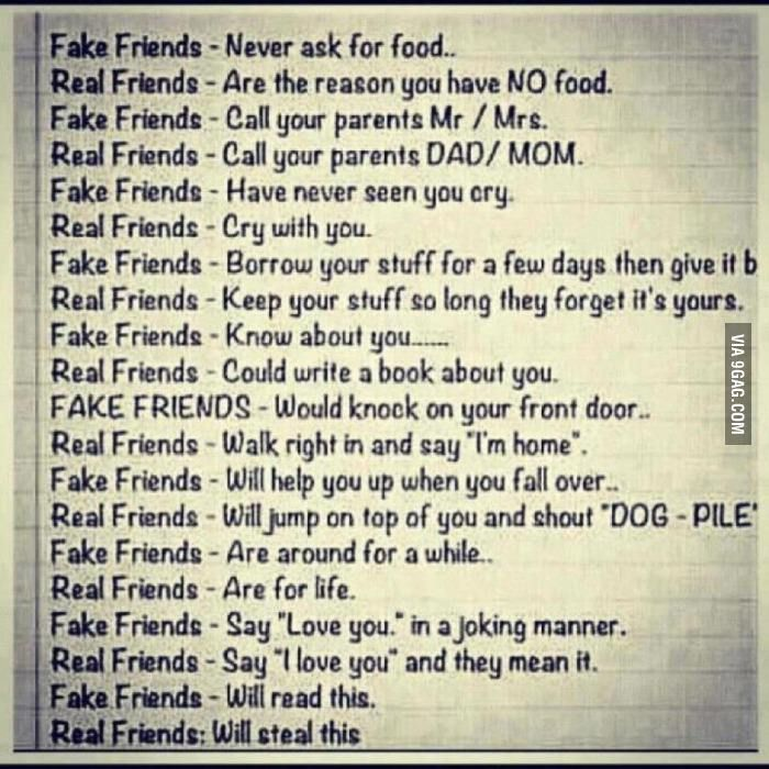 The Difference Between Real And Fake Friends D Friendship