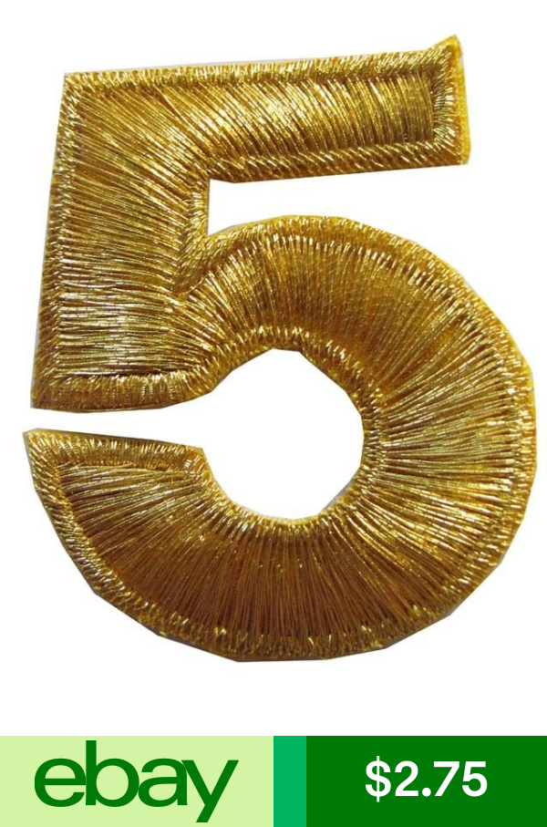 Numbers 2 H Gold Number 5 Iron On Embroidery Applique Patch Iron On Embroidery Applique Patch Embroidery Applique