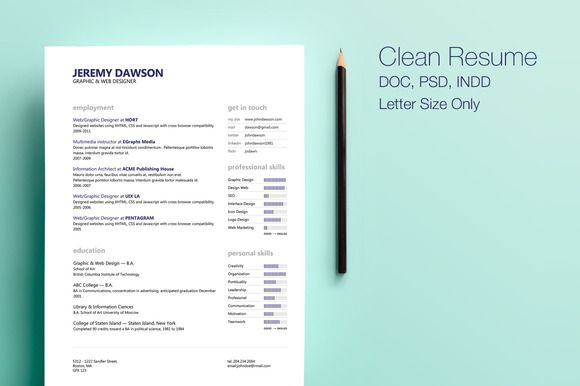 Clean Style Resume by Design by Mike Kondrat on @creativemarket ...