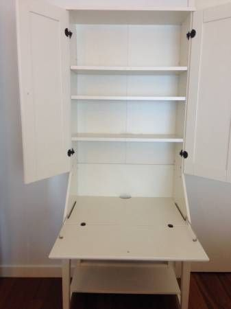Attrayant IKEA Hemnes Secretary Desk With Hutch And Rolling File Storage Bench