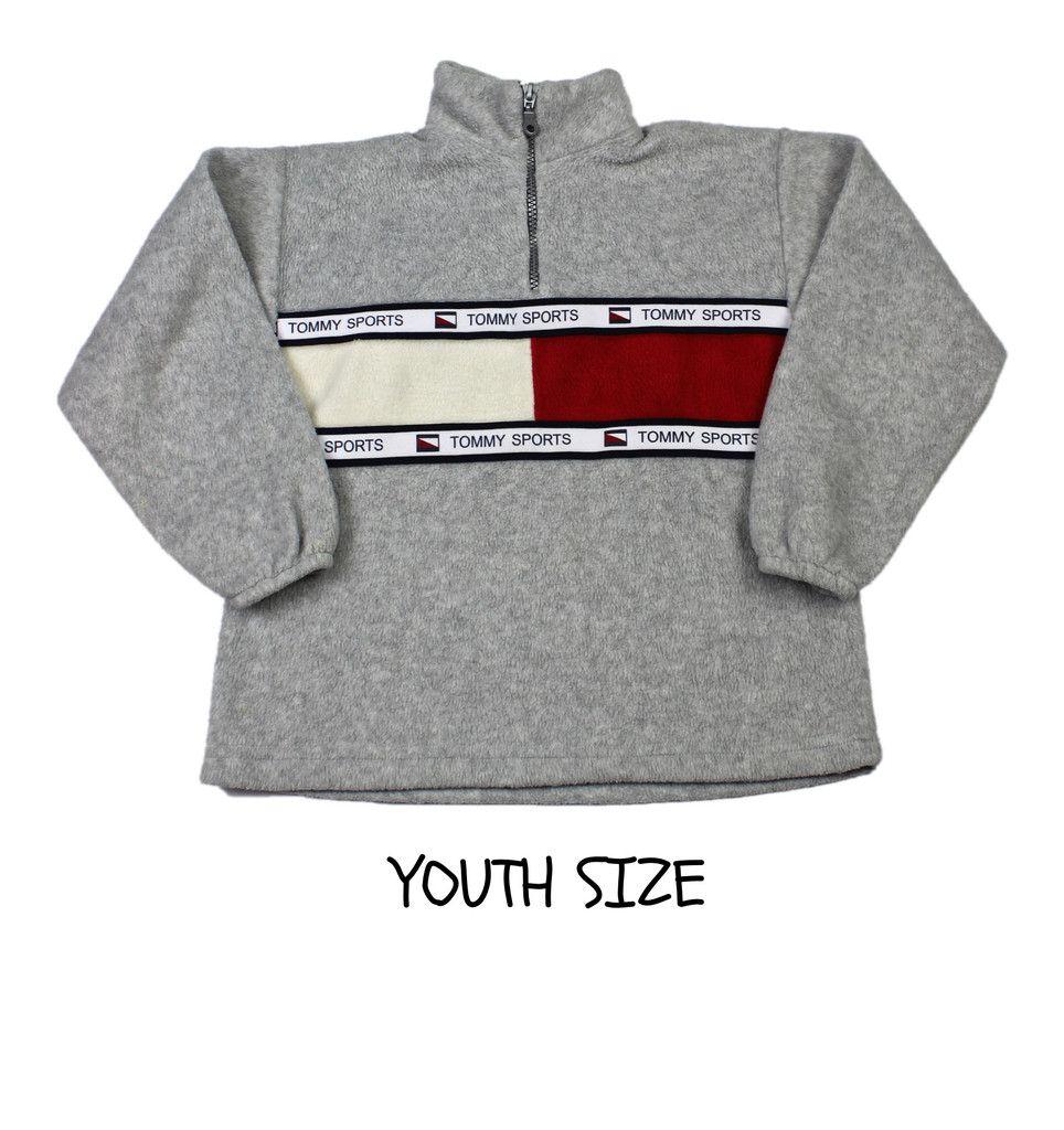 471e8a20 Vintage 90s Tommy Hilfiger Sports 1/2 Zip Fleece Jacket YOUTH SIZE Medium  (8-10)