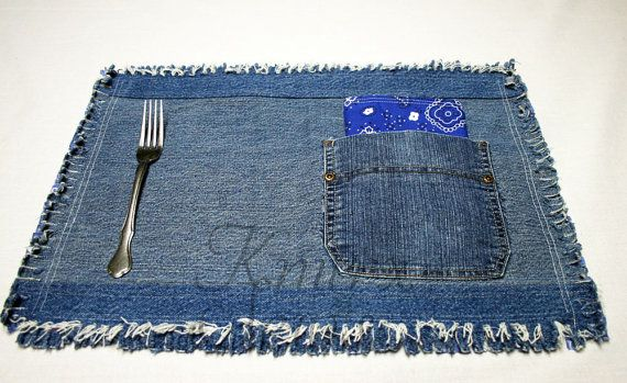 denim placemat - vary style | Country blue, Jean pockets ...