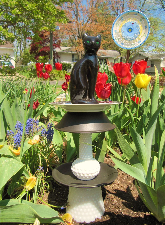 garden totem, yard art, glass garden art, repurposed, upcycled ...