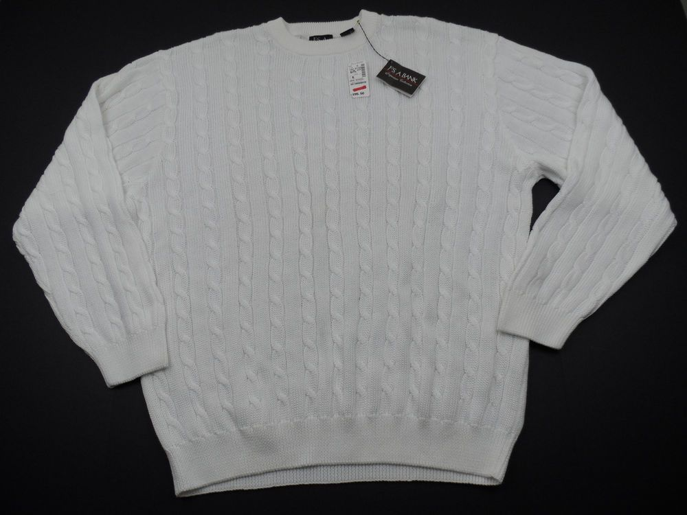 Jos A Banks Pullover Chain Knit Crewneck Sweater White Mens XL Cotton  #JosABank #Crewneck