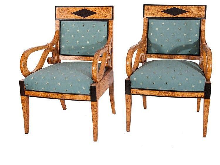 A pair of Russian Biedermeier armchairs