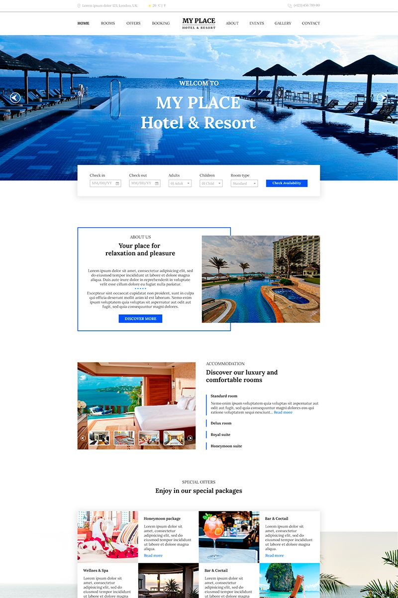Room Design Layout Templates: Hotel & Resort PSD Template #82624