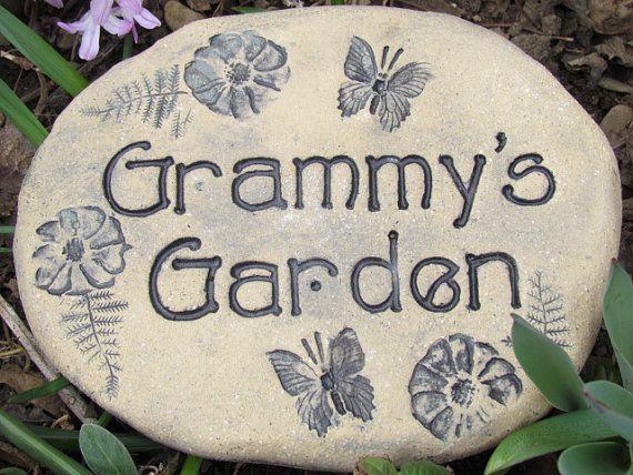 Grammy S Garden Stone Rustic Grammy Sign Grammy Gift Outdoor