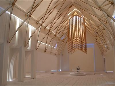 Early Design Concept For Our Lady Queen Of Peace Catholic Church Newport Beach Ca I Like The Structure Above Altar