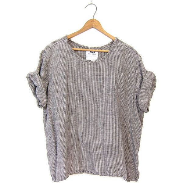 FLAX Slouchy Blouse LINEN TShirt 90s Minimal Multi Colored Loose Fit... ($40