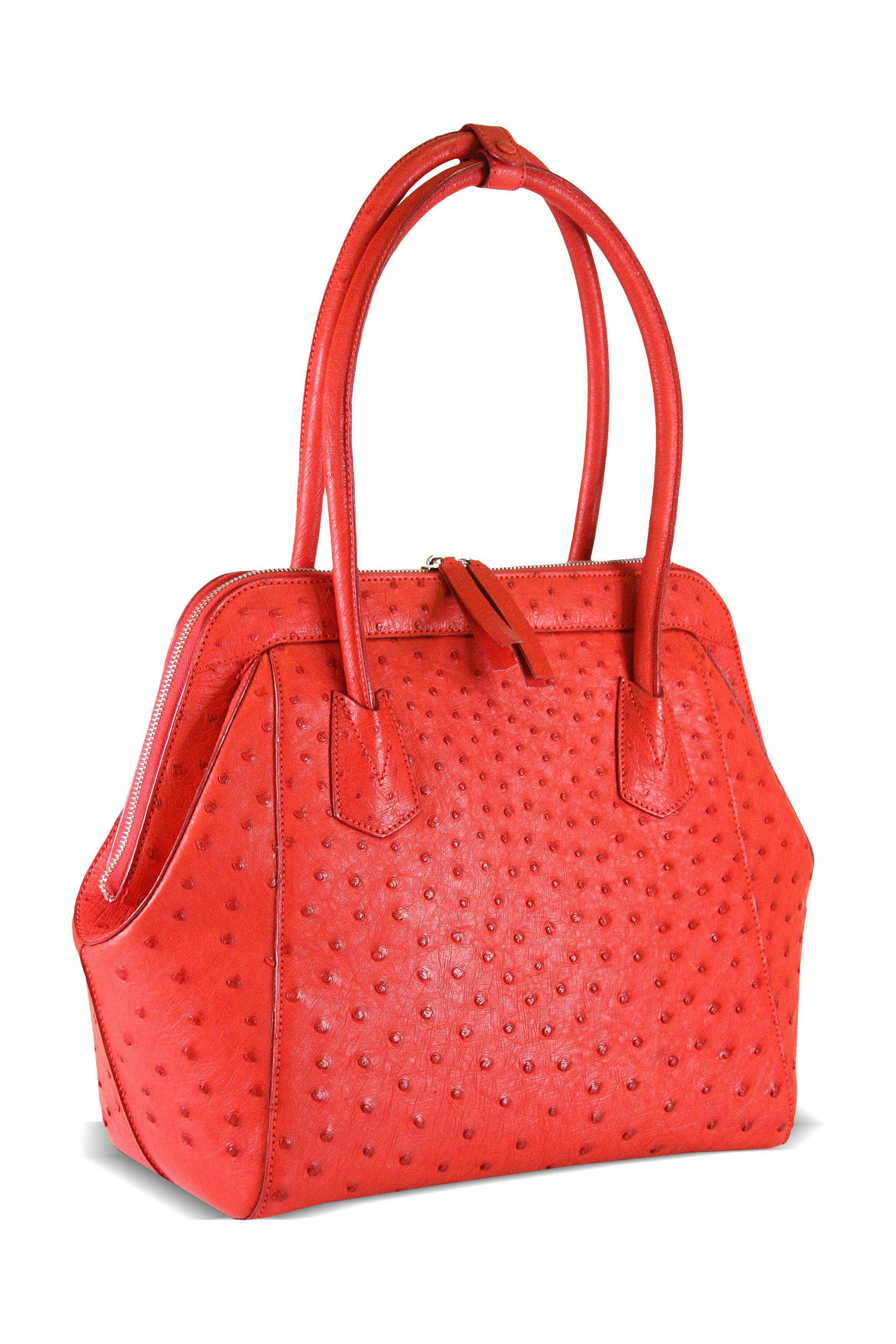 Scarlet Via La Moda Ostrich Leather Handbag