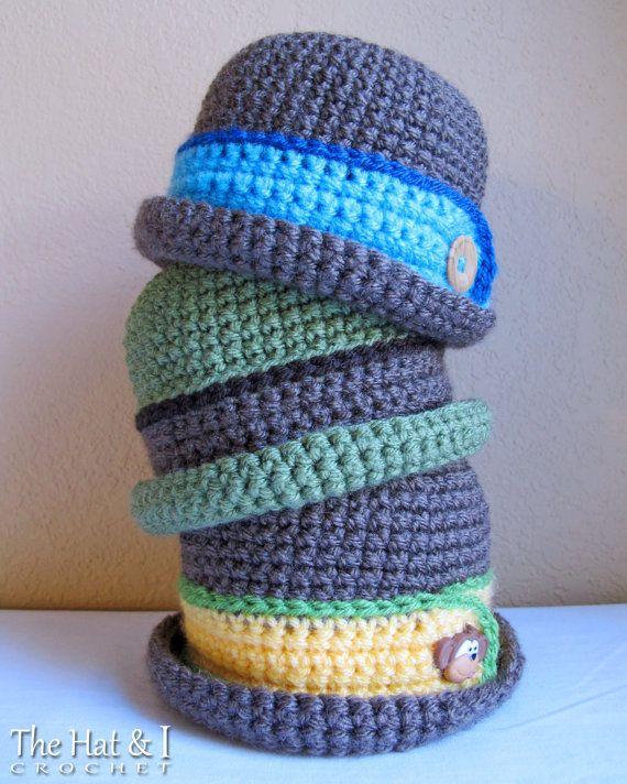 CROCHET PATTERN - Downtown Boy - crochet bowler hat pattern, crochet ...