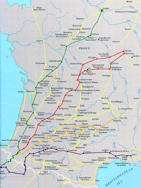 Camino de santiago french routes converging at st jean - Train from paris to st jean pied de port ...