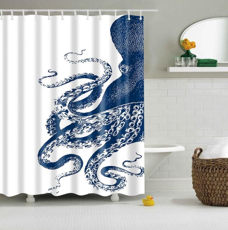 Blue Octopus Thomas Paul Shower Curtain Bathroom Decor Vinyl
