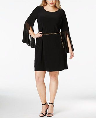 Msk plus bell sleeve shift dress