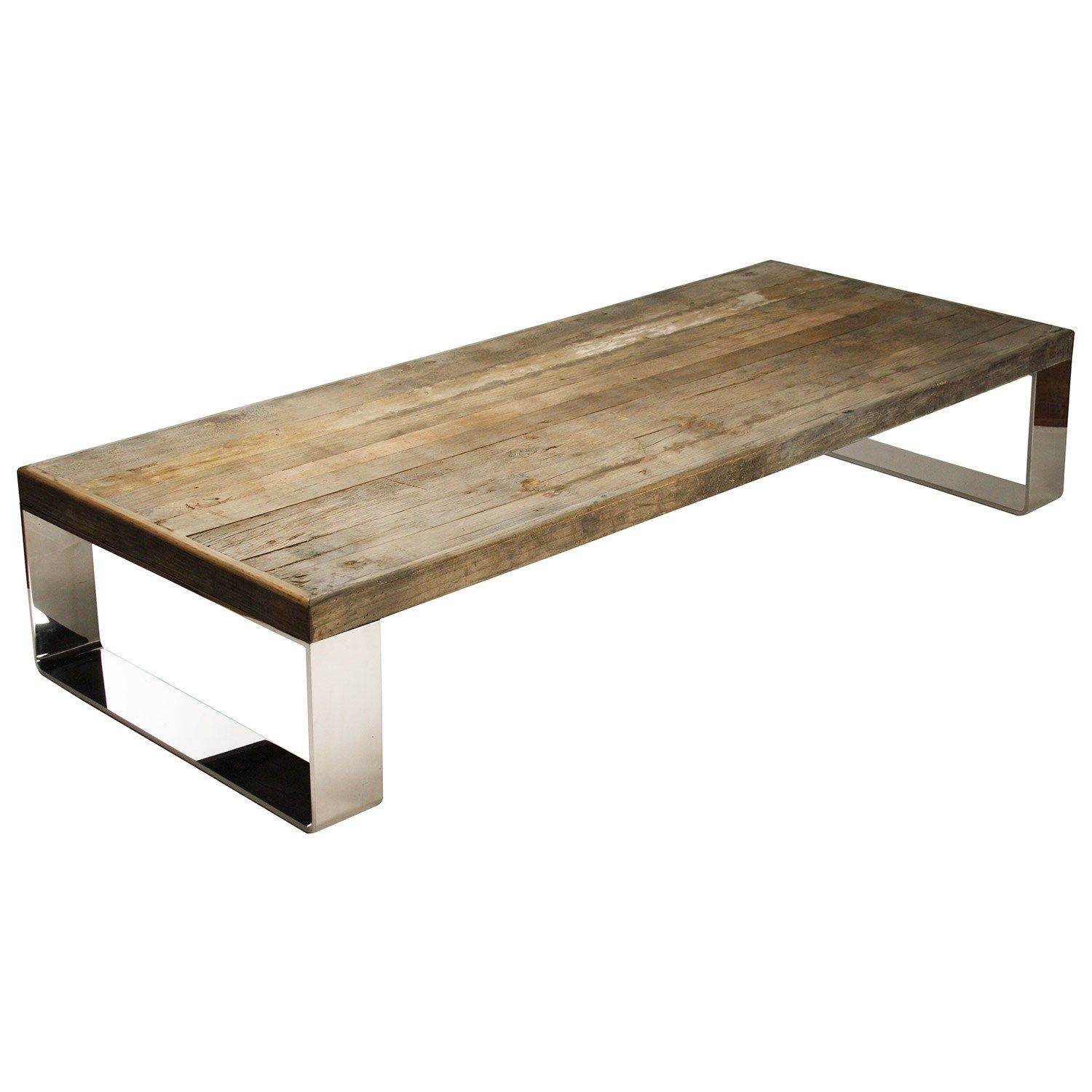 """$3439    view all items from zentique  Fuse modern design and simple rustic charm with the weathered Darren coffee table from Zentique. Contemporary stainless steel legs contrast with the rectangular table's reclaimed wood for natural texture and an understated living room look.  71""""W x 29.5""""D x 14""""H"""
