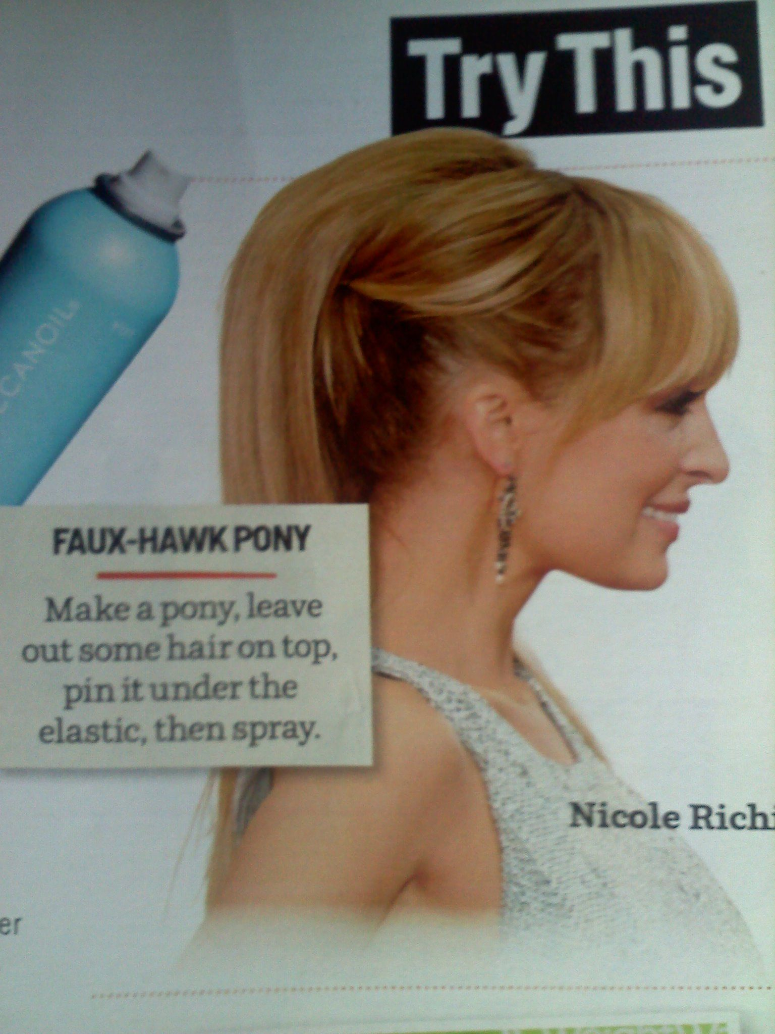 Faux-hawk pony I saw in a past Cosmopolitan magazine #NicoleRichie #hair