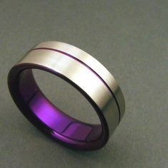 Male Titanium Wedding Band With Thin Purple Line And Purple On
