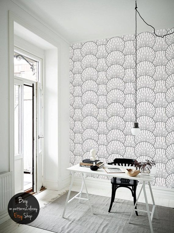 Geometric sea shells pattern grey and white round forms wallpaper