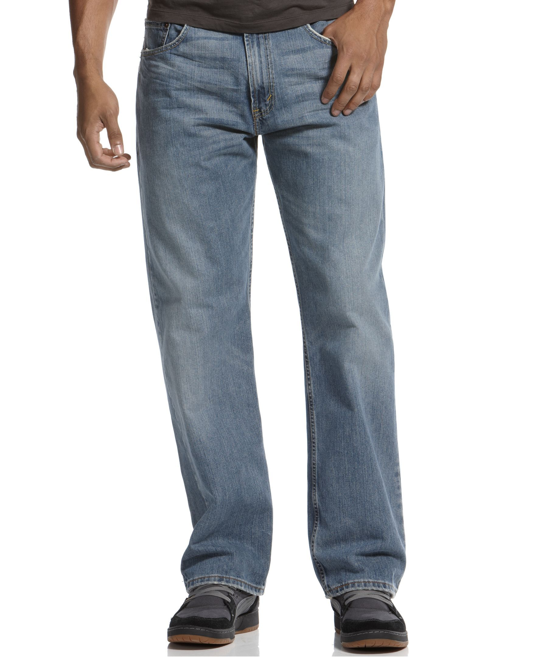 Loose Straight Fit Rugged Wash Jeans