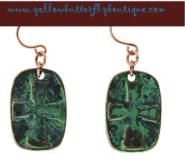 Burnished Copper Tone Stamped Cross Earrings. Find at www.yellowbutterflyboutique.com!