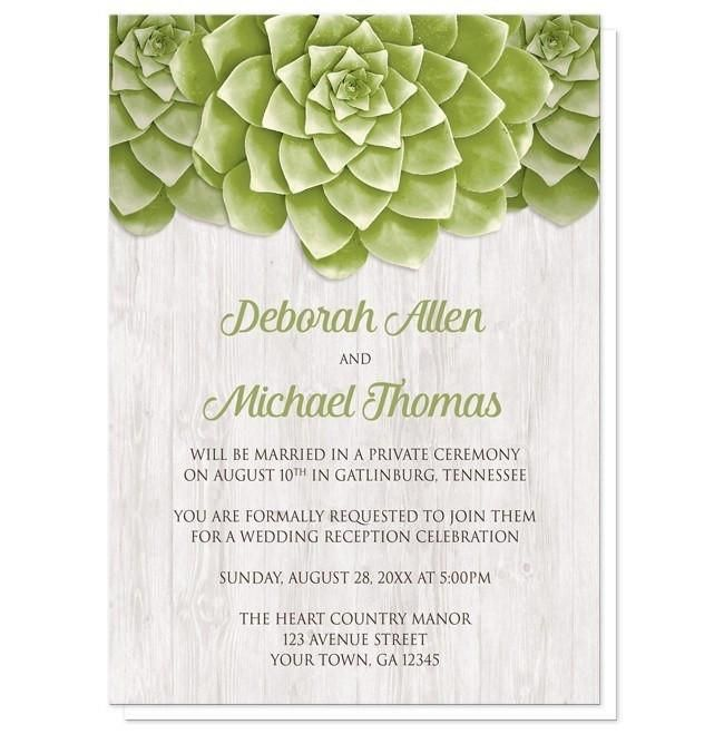 Small Ceremony Big Reception Invitations: Succulent Whitewashed Wood Reception Only Invitations