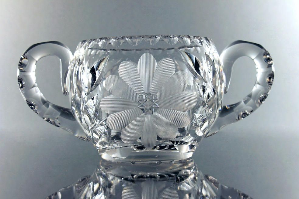 American Brilliant Sugar Bowl, Antique Leaded Crystal, Large