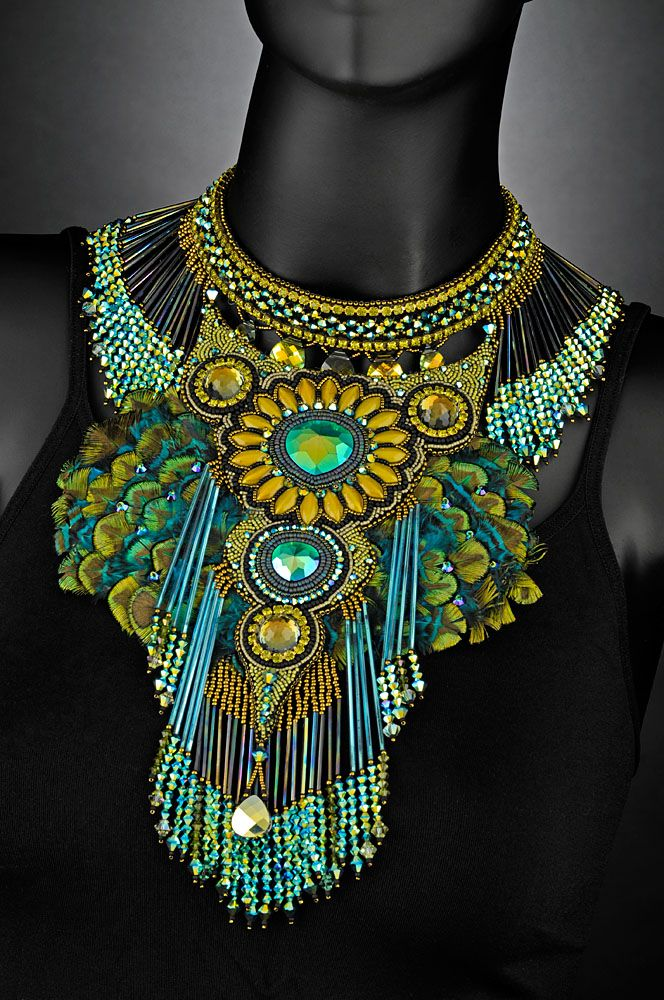 Neckpieces by Sherry Serafini. Stunning! I almost can't get how much work and time these pieces represent. I love the peacock colours in this one!