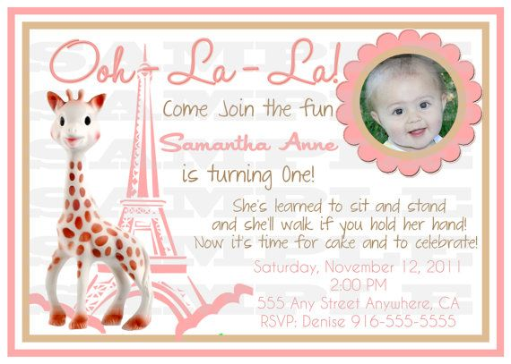 First birthday Poster Sophie the Giraffe by Anietillustration – Giraffe Party Invitations