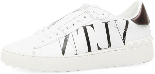 4c2b64a4298 VLTN Open-Laced Leather Low-Top Sneakers Valentino calf leather sneaker  with VLTN logo at side. Rubber platform with Rockstud detail. Round toe.