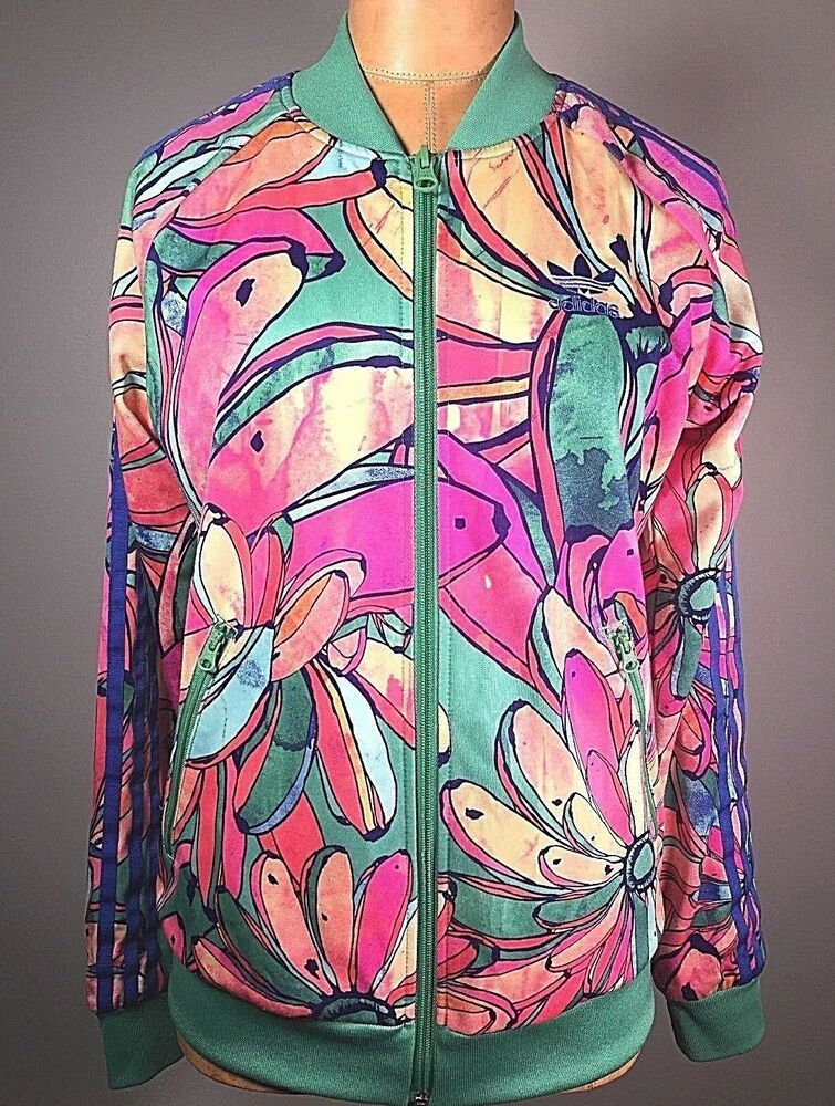 Adidas Farm Women Supergirl Floral Track Top Banana Track