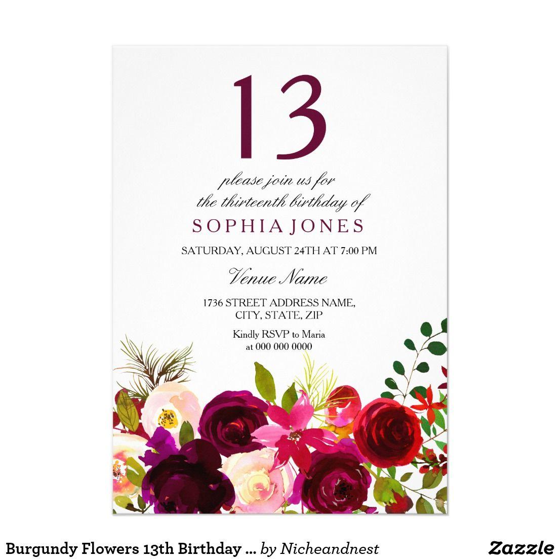 Burgundy Flowers 13th Birthday Party Invite | 13th Birthday Party ...