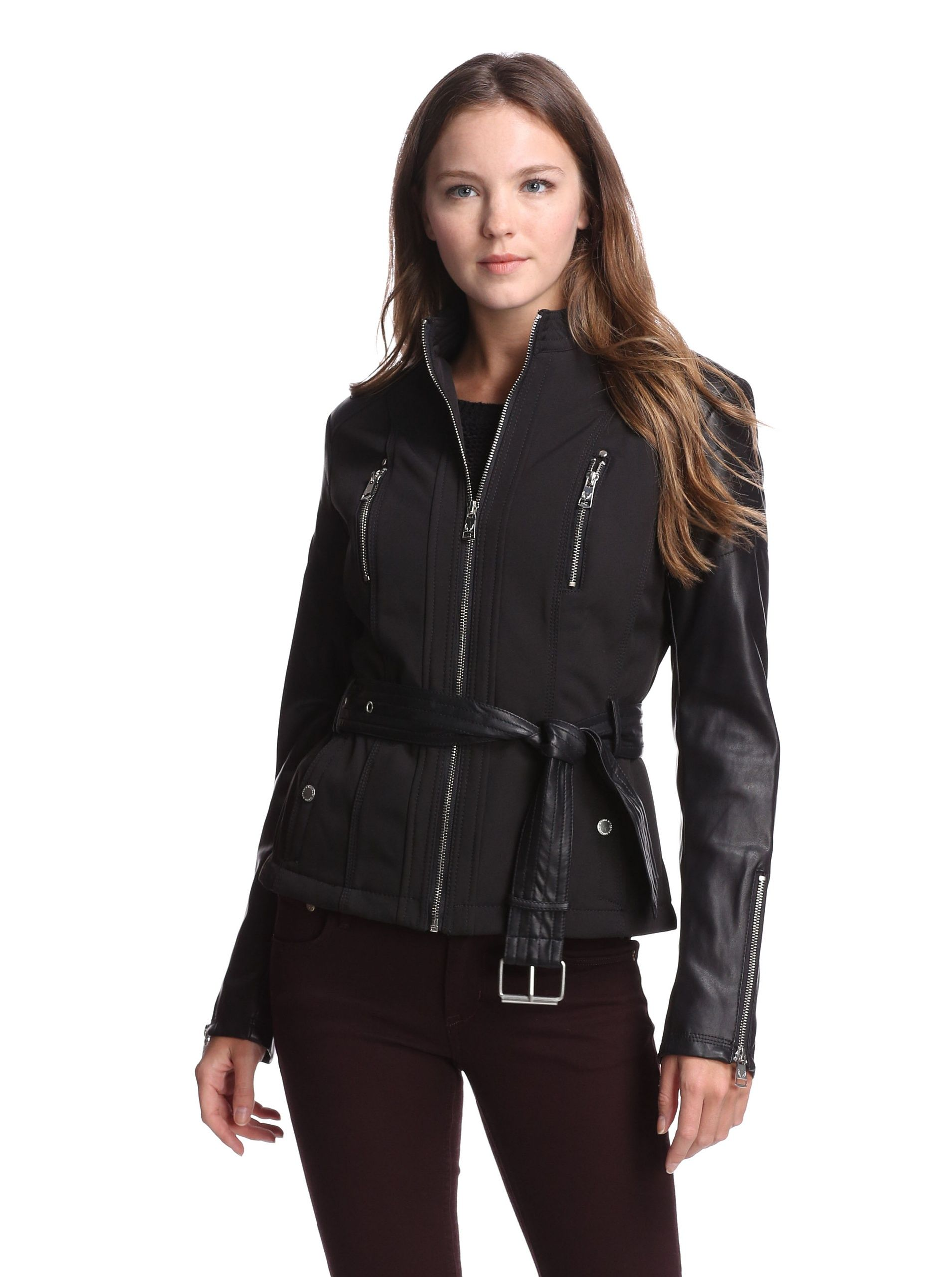 Buffalo David Bitton Women S Jacket With Faux Leather Black Black Zip Up Jacket With Faux Leather Sle Couture Outfits Clothes For Women Fashion Clothes Women [ 2560 x 1910 Pixel ]