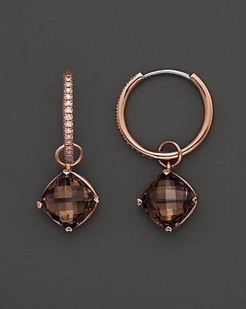 Lisa Nik 18K Rose Gold Diamond Hoop Earrings with Smokey Quartz Detachable Drops | Bloomingdale's