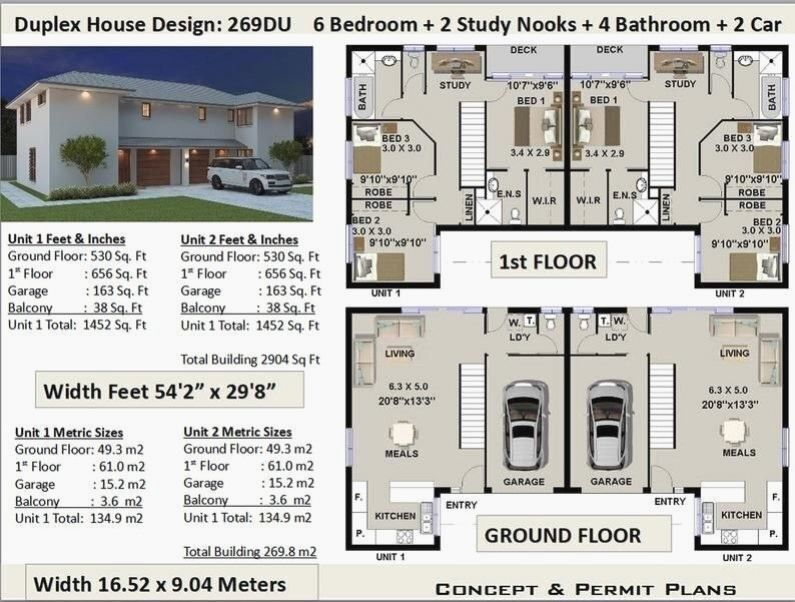 6 Bedrooms Duplex House Plan 269 8 M2 Or 2904 Sq Foot Best Selling House Plans For Sale House Plans For Sale Duplex House Plans Duplex House