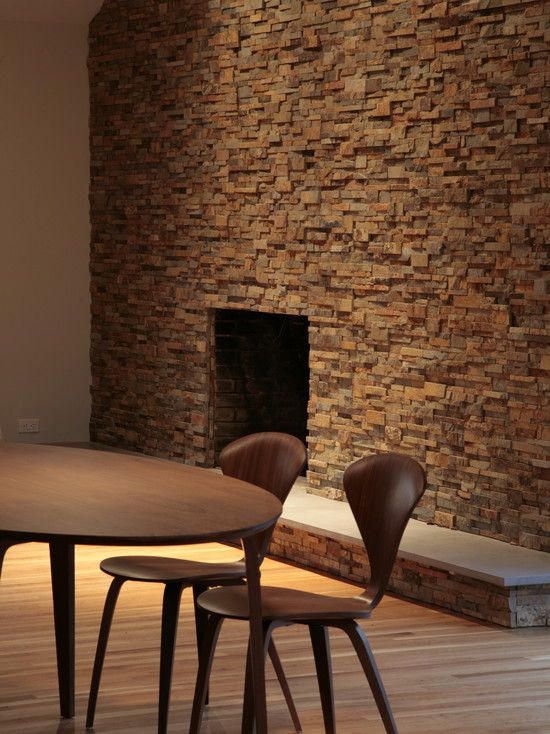 modern dining room using unique wall texture like small natural