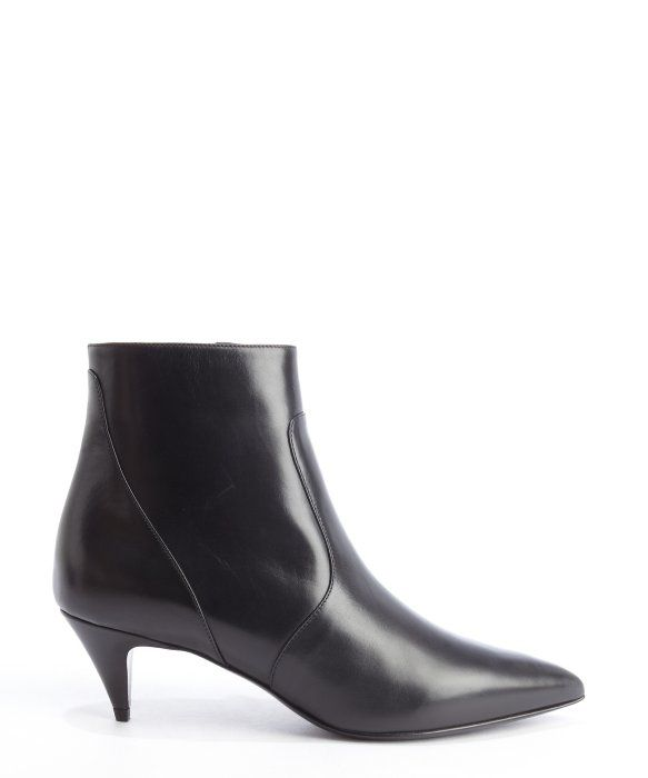 Saint Laurent black leather pointed toe kitten heel