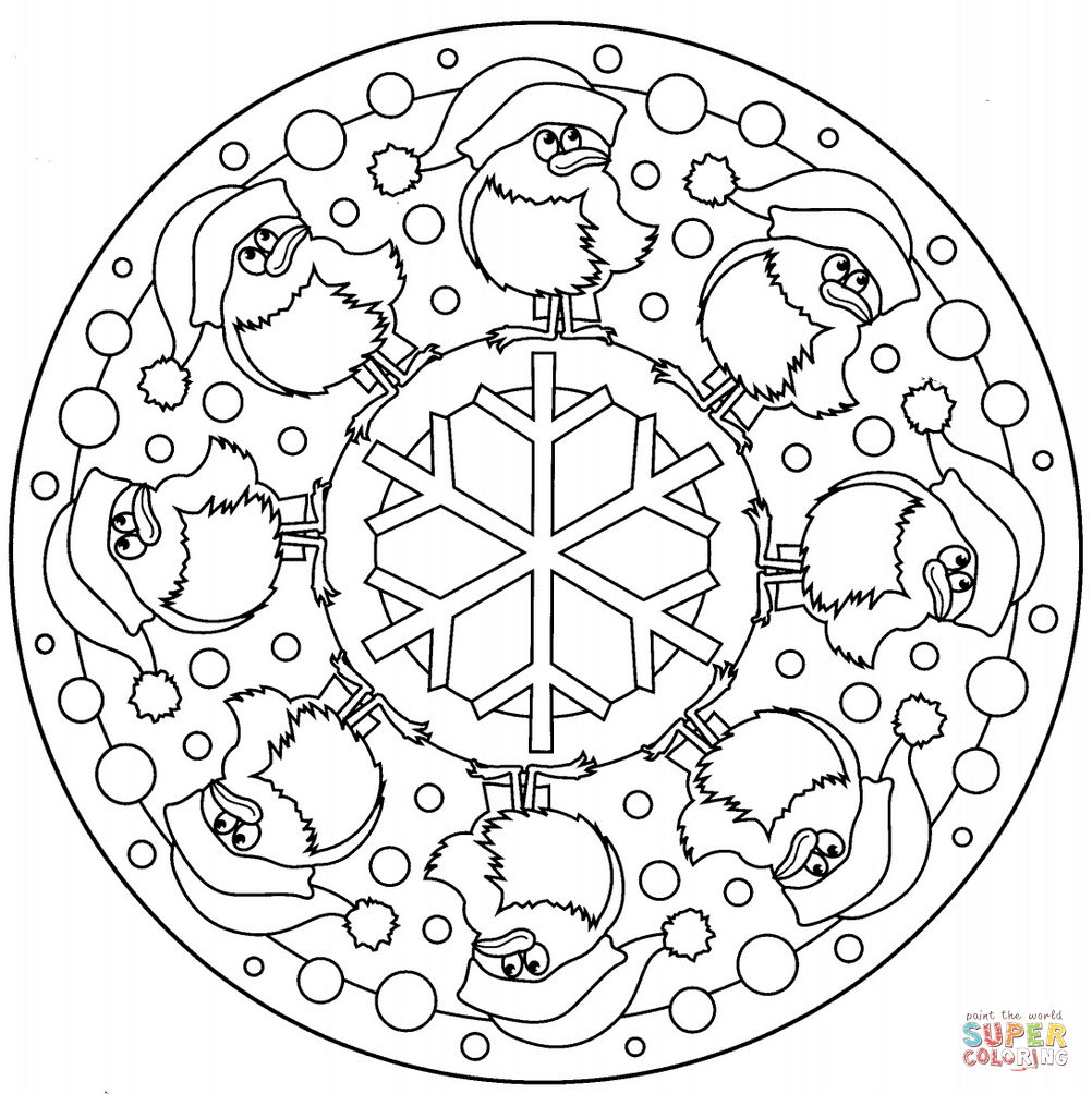 Coloring Book: Printable christmas mandala coloring pages ...
